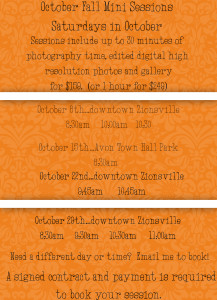 FALL FAMILY SESSIONS OCTOBER 2016